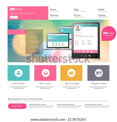 Flat Colorful Website Template Design  - stock vector