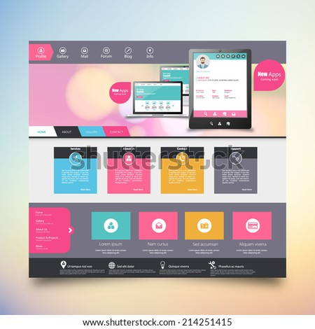 Flat Colorful website template with clean modern design.