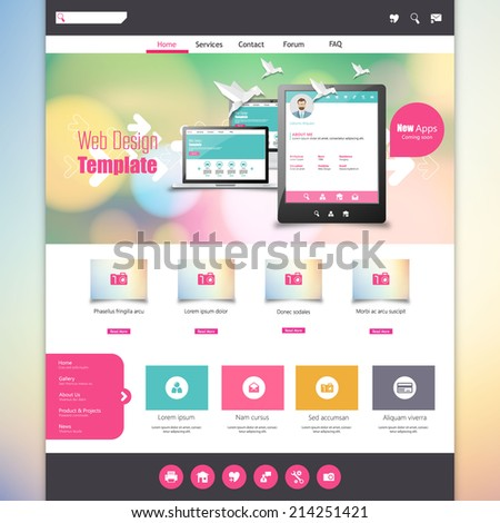 Flat Colorful website template with clean modern design.  - stock vector