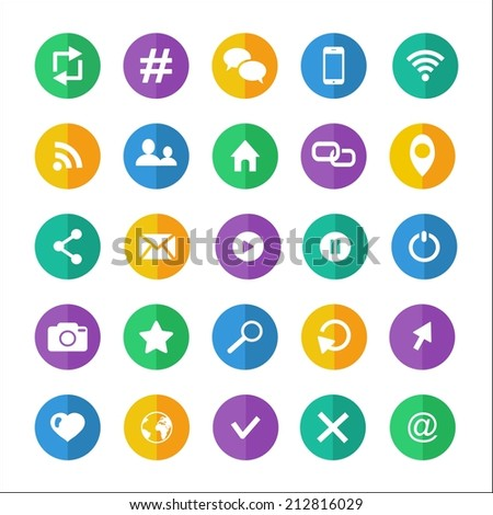 Flat communication icon set with wifi email cloud  hashtag earth phone bubble email rss  photo  like profile home location favorite search cursor - stock vector