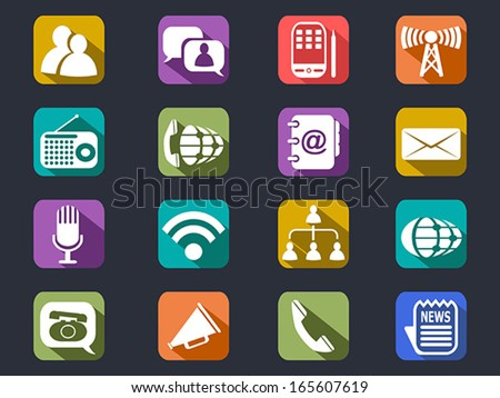 flat communication long shadow icons - stock vector