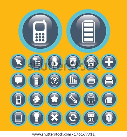 flat communication media buttons set, vector - stock vector