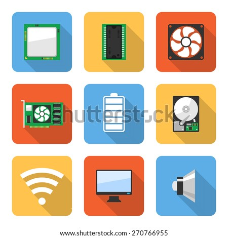 Flat computer system icons with long shadows. Vector illustration - stock vector