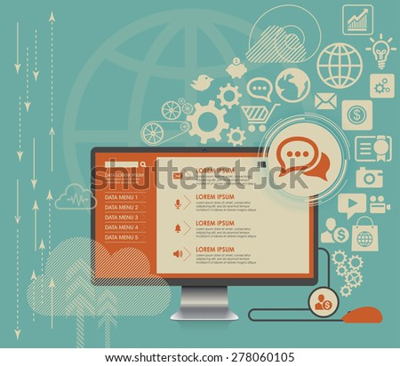 Flat computing background with social media icons - stock vector
