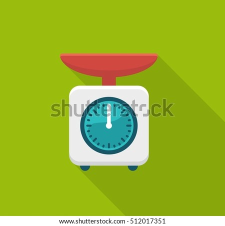 Flat con home kitchen scales. Vector illustration