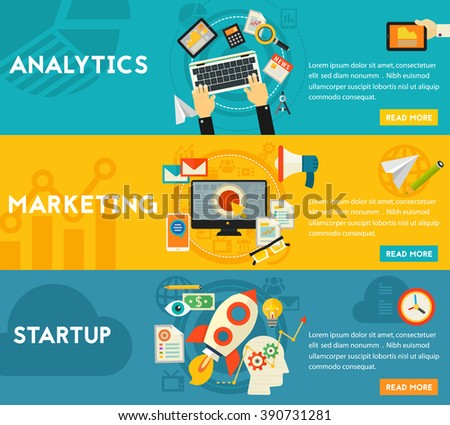 Flat concept banners. Marketing, Analytics, Startup Launch - stock vector