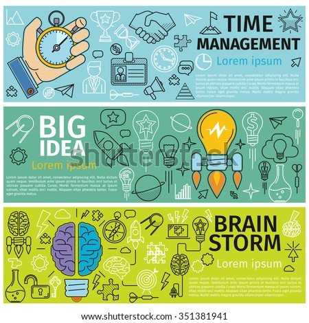 Flat concept banners of Time management, Creative design, Big Idea, Brainstorm. Line art icons  Innovation and solution. business idea. Vector illustration - stock vector