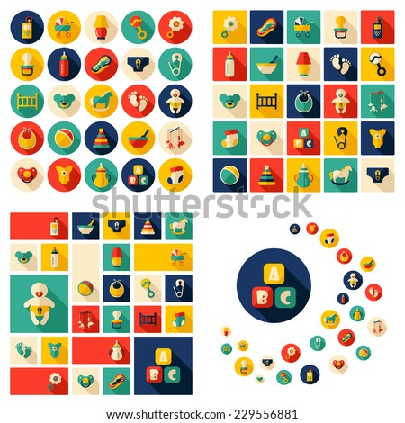 Flat concept, design with shadow, SEO. Set modern Icons mobile applications and web design. Working optimization:  Baby symbols collection - stock vector