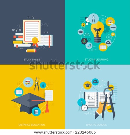 Flat concept education backgrounds set. Back to school. Distance learning. Study in university.   - stock vector