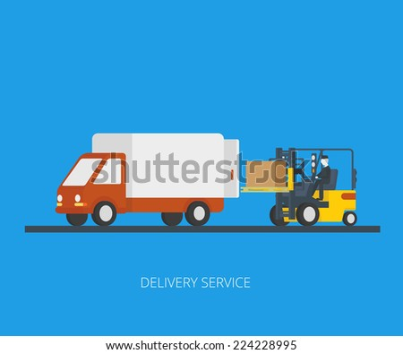 Flat concept illustration of delivery truck with forklift loading pallet with box - stock vector