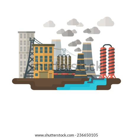 Flat concept illustration of factory and ecology - stock vector