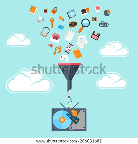 Flat concept of big data filter, data tunnel. Analysis and statistic, filter flow HDD or hard drive, instrument and cloud server, database and network. Vector illustration - stock vector