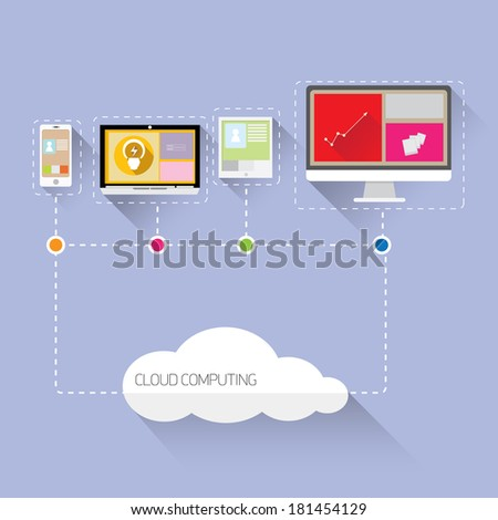 Flat concept of cloud computing service - vector illustration - stock vector