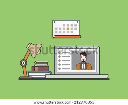 Flat concept of e-learning. Mobile education by laptop - vector illustration - stock vector