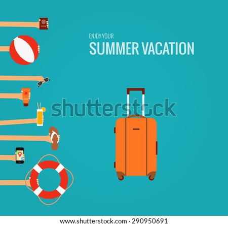 Flat concept of summer travel made in vector - stock vector