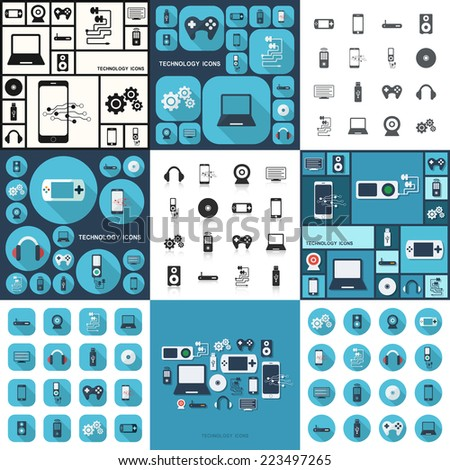Flat concept, set modern design with shadow icons for web design and mobile applications, SEO. search Engine Optimization:  technology icons - stock vector