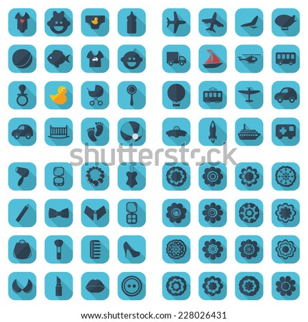 Flat concept, set modern design with shadow icons for web design and mobile applications, SEO. search Working Optimization:  flowers, transport, fashion, kids - stock vector