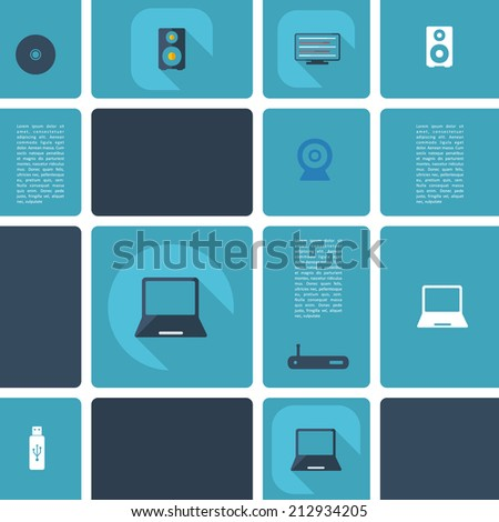 Flat concept, set modern design with shadow vector icons for web design and mobile applications, SEO. search Engine Optimization: technology, communication