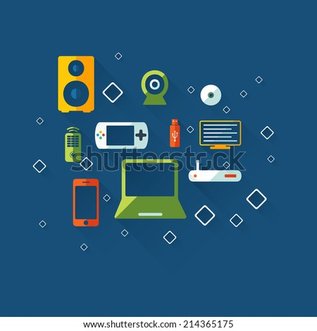 Flat concept, set modern design with shadow vector icons for web design and mobile applications, SEO. search Engine Optimization: technology - stock vector