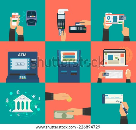 Flat concept vector illustration set of payment methods such as credit card with website, nfc technology, mobile app, atm and terminal, money transfer, paying by cash and invoice. - stock vector