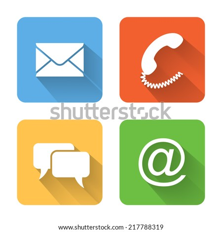 Flat contacts icons. Vector illustration