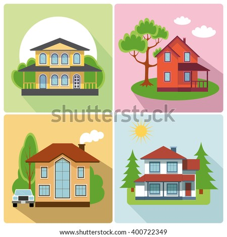 Flat cottage house icon buttons.Vector Residential,Village.Flat modern buildings.Vector illustration.Flat house icon.Private residential architecture.Summer,spring landscape background.Infographics