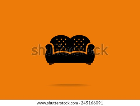 flat couch icon. vector design - stock vector