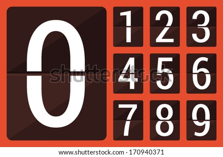 Flat countdown number - stock vector