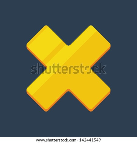 Flat cross golden icon - stock vector