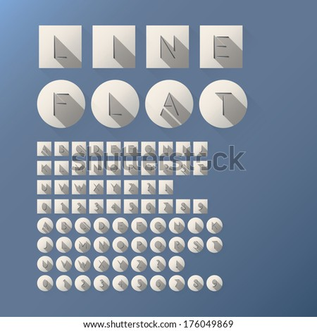 Flat Cut Line Font and Numbers, Eps 10 Vector, Editable for any Background, No Clipping Mask - stock vector