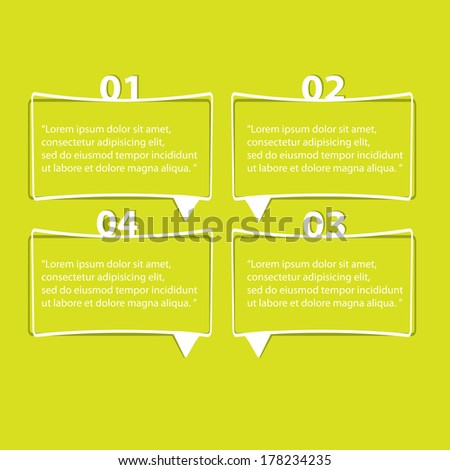 flat cut paper white banners on green background / can be used for infographics / numbered banners / horizontal cutout lines / graphic or website layout vector / brochure or cover design