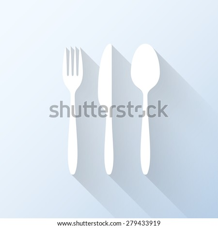 Flat cutlery set icon with long shadow. Vector illustration - stock vector
