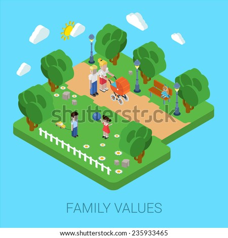 Flat 3d family values parenting children kids people concept. Parents in park mother father pram buggy girl boy son daughter. Website isometric infographics design web elements vector illustration. - stock vector