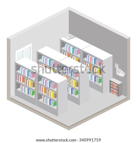 Flat 3d isometric abstract office floor interior departments concept vector