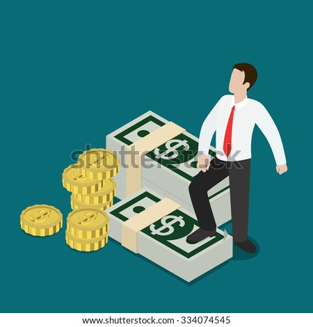 Flat 3d isometric business prosperity concept web infographics vector illustration. Micro businessman standing on dollar note packs coin stacks. Creative people collection. - stock vector