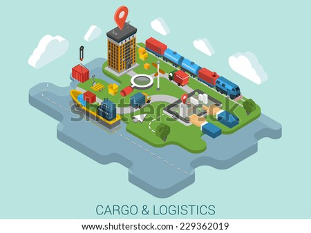 Flat 3d isometric cargo delivery logistics shipping business infographic concept vector. Container ship city port crane, road truck, train railroad cistern, mark point, hands on touch screen tablet. - stock vector