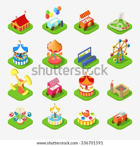 Flat 3d isometric carousel attraction amusement leisure entertainment park icon set concept web app mobile infographics vector. Ice cream station aim shot popcorn roller coaster circus castle. - stock vector