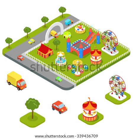 Flat 3d isometric carousel attraction amusement leisure entertainment park icon set concept web app mobile infographics vector. Ice cream station aim shot popcorn roller coaster circus castle car van. - stock vector