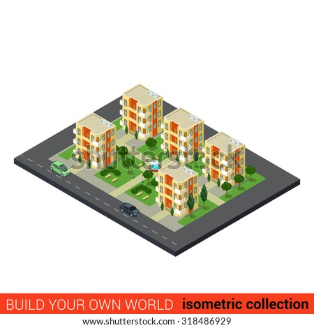 Flat 3d isometric city dormitory area sleeping quarters condominium appartment building block infographic concept. Build your own infographics world collection.