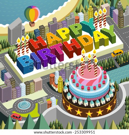 flat 3d isometric city scenery with big birthday cake illustration  - stock vector