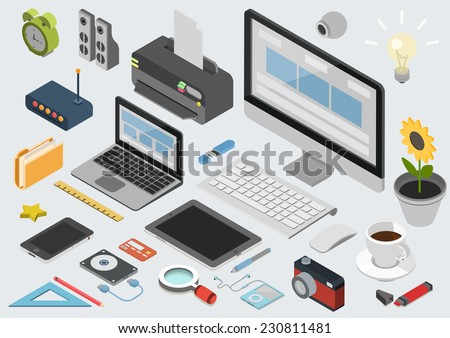Flat 3d isometric computerized technology designer workspace infographic concept vector. Tablet, laptop, smart phone, camera, player, printer, desktop computer, printer, peripheral devices icon set. - stock vector