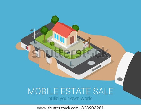 Flat 3d isometric creative mobile real estate sale web infographics concept. Big hand with smartphone on micro house street block. Creative people collection. - stock vector