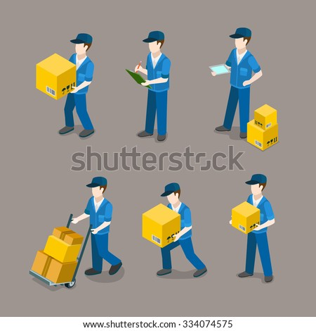 Flat 3d isometric delivery man at work icon set concept web infographics vector illustration. Creative people collection. - stock vector