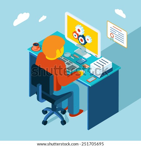 Flat 3d isometric design. Man sits in the workplace and working at a computer. Vector illustration. Work, table, freelance - stock vector