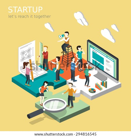 flat 3d isometric design of business startup concept - stock vector