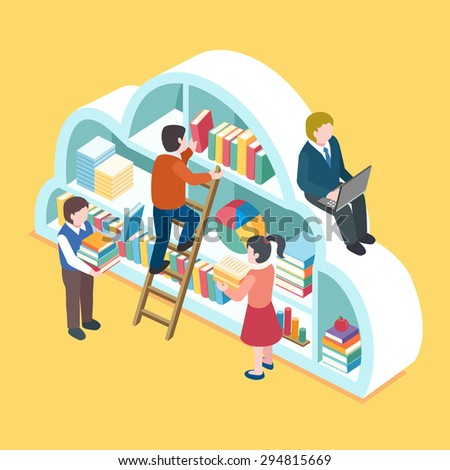 flat 3d isometric design of cloud service concept - stock vector
