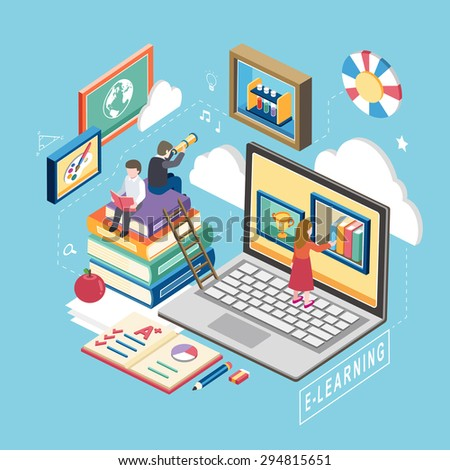 flat 3d isometric design of e-learning concept - stock vector