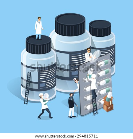 flat 3d isometric design of medicine management concept - stock vector