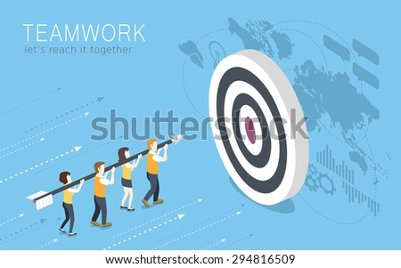 flat 3d isometric design of teamwork concept  - stock vector