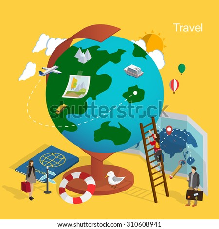 flat 3d isometric design of world travel concept